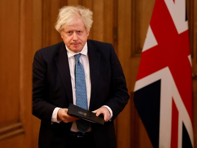 Prime Minister Boris Johnson arrives for a media briefing on coronavirus (COVID-19) in Downing Street, London. Photo: PA
