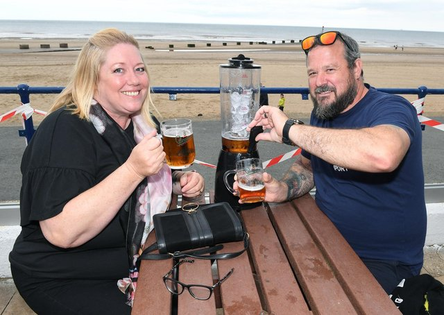 Donna and Dean Batchelor of Derby, at The Dunes Complex in Mablethorpe.