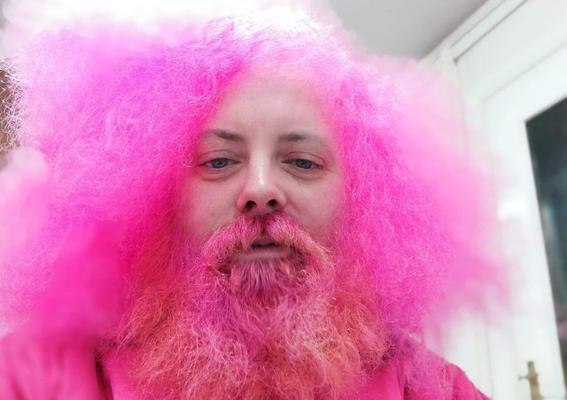 Simon Greenfield before his pink beard shave in November 2019.