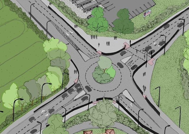 Illustration of the improvements at Toll Bar roundabout