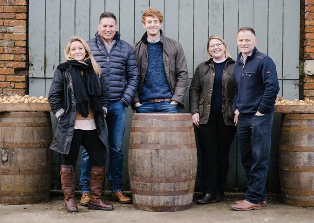 Elsham Wold Distillery team: Emma Hamilton, Richard Arundel, Matthew Hamilton, Jo Mordue and Ben Mordue.