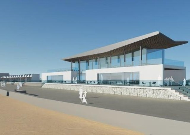 An artist's impression of  the proposed Colonnade redevelopment viewed from the beach. EMN-200813-092157001