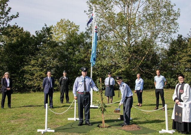 Representatives from RAF Coningsby, Lincolnshire County Council, BAE Systems and The Woodland Trust attending the tree planting ceremony. Image Sgt Paul Oldfield