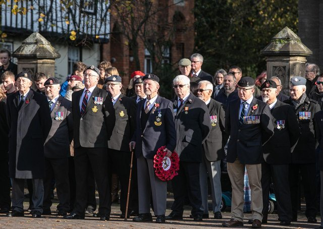 Last year's Remembnrance service and parade in Sleaford. Such scenes will not be repeated in 2020 due to Covid-19 restrictions. Photo: MOD EMN-200922-093519001