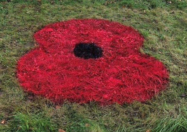 A poppy has been painted onto Gunby Roundabout. EMN-200511-154253001