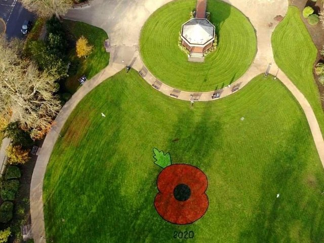 Drone picture of the poppy in Tower Gardens in Skegness.