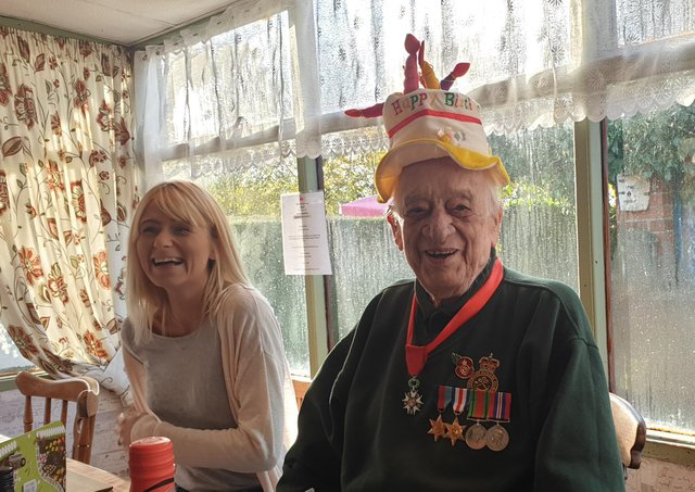 Capstian Stan celebratiing his 96th birthday last year at a family gathering