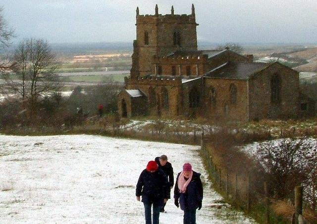 A wintry scene at The Ramblers Church, Walesby
