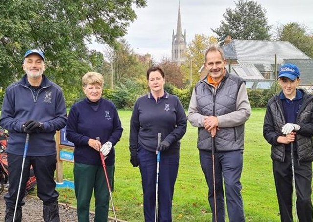 At the Drive-In, from left, are: Matt Leeming, Gents' Vice-Captain 2021, Steph Teanby, Ladies' President 2021, Pam Hayden, Ladies' Captain 2021, Steve Cooney, Gents' Captain 2021 and Merv Tursak, Junior Captain 2020 and 2021.