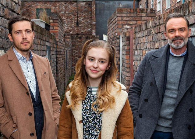 Harriet Bibby with her on-screen family Image: ITV EMN-201116-192630001
