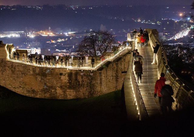 Lincoln Castle's illuminated wall walk in 2019. In 2020 it will have social distancing guidelines in place. EMN-201120-102401001