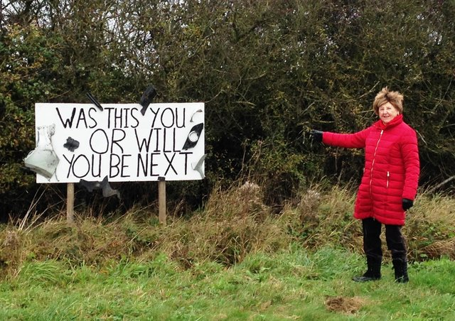 Janet Stubbs with her homemade road sign - warning motorists about the 'dangerous' junction.