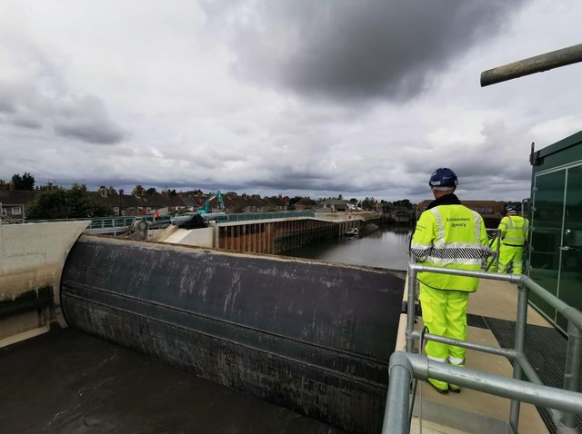 A test closure of the barrier earlier this year