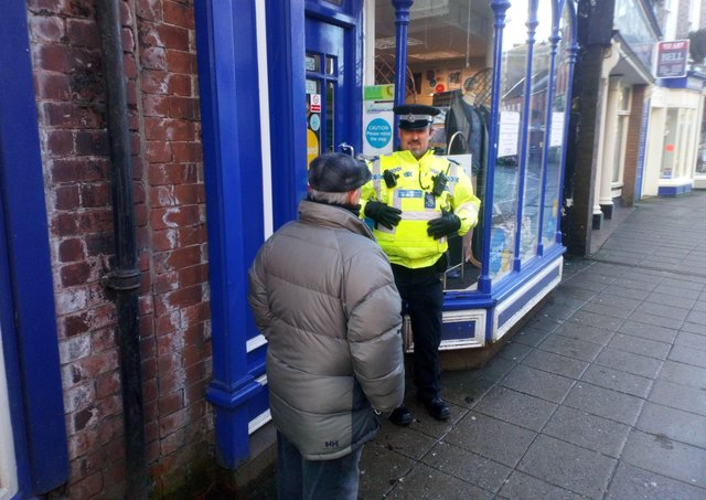 On patrol: PCSO Wass chats to a resident in Horncastle's High Street