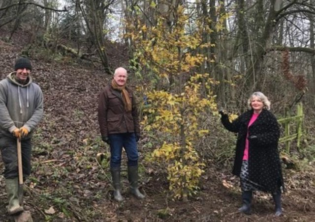 Hubbard's Hills Trust Chairman Andrew Leonard (centre) takes stock of the new planting with Trust secretary Jill Makinson-Sanders and Contractor Michael Payne. EMN-210801-160752001