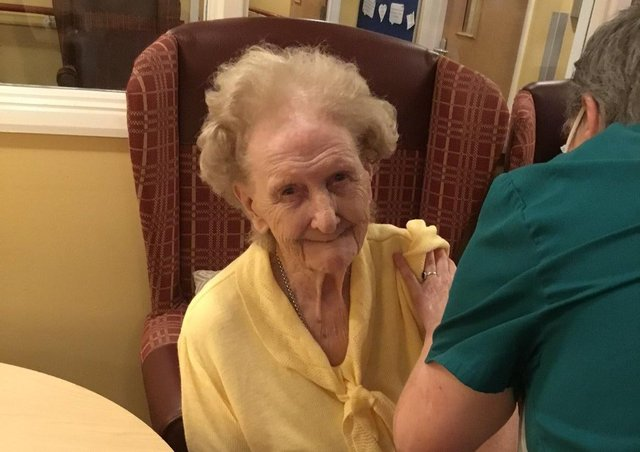 Ashdene care home residents in Sleaford receiving their first Covid vaccinations. EMN-210901-181825001