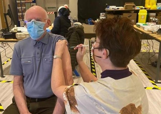 Advanced nurse practitioner, Jane Spence, administering a Covid-19 vaccine last week.