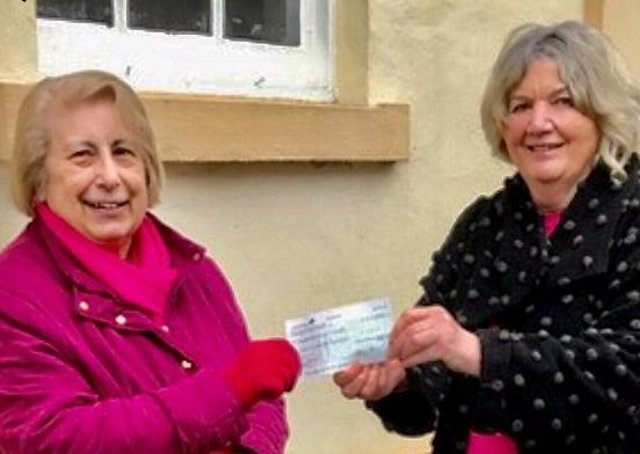 Hubbard's Hills Trust Secretary Jill Makinson-Sanders was delighted to receive a generous cheque from Mrs June Lyall of the Louth Hospital Club.