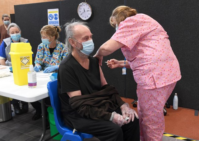 A Lincolnshire resident receiving his Covid-19 vaccination.