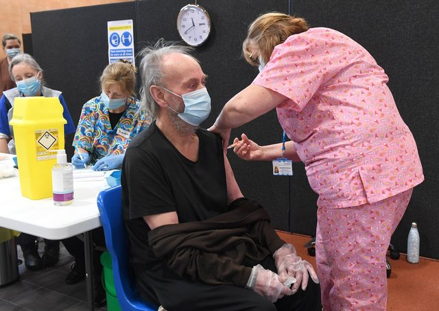 John Lewis, of Algarkirk, had his vaccination on Monday at the Princess Royal Sports Arena.