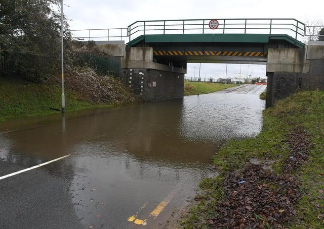 Flood water under the railway bridge on Boston Road, Sleaford. EMN-210120-174633001