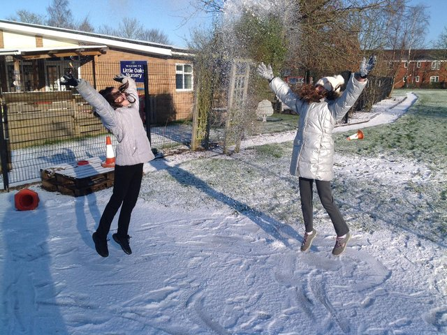 Pupils enjoyed a snow day on Monday