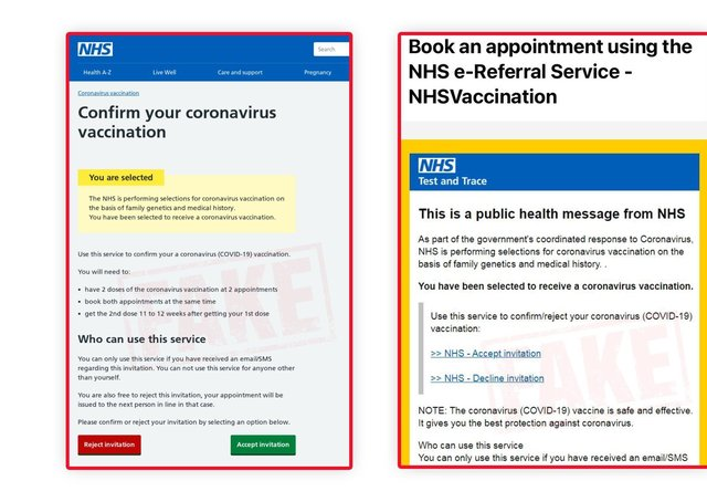 Screenshots of scam covid vaccine messages. EMN-210127-123601001