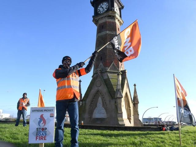 GMB Union protestors in Skegness raising awareness of their strike.