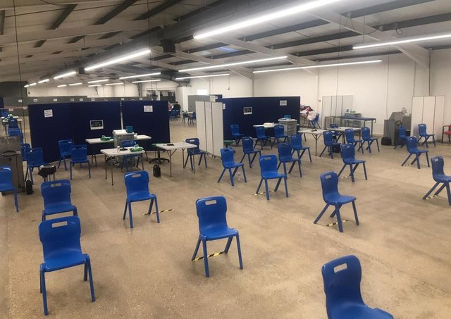 Inside the mass vaccination centre at Lincolnshire Showground.