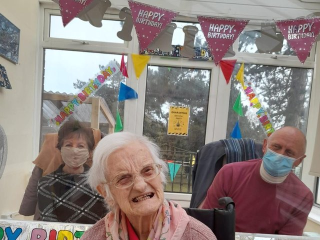 Mary celebrating her 101st birthday with her son and daughter-in-law, Johnny and Susie Epton.