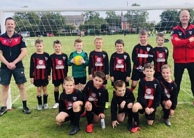 Some of the members of the Louth Old Boys U-9 Reds team.