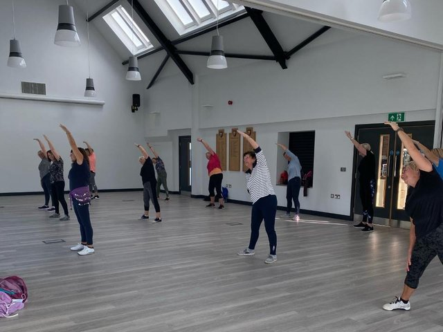 Sam Sorrell's socially distanced Zumba class in Skegness's Tower Pavilion.