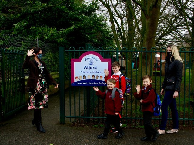 Headteacher Vicky Ross welcoming pupils back to Alford Primary School.