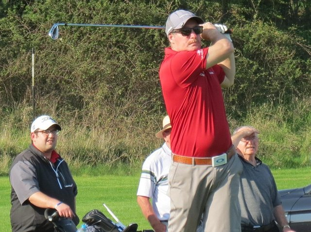 Sudbrook Moor team player, Nigel Corby, teeing off in an Inter-Club match in summer 2020.