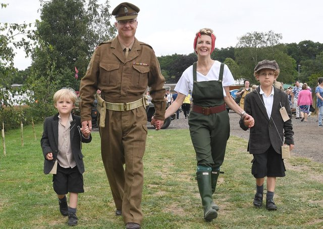 The Wilbourn family pictured at Woodhall Spa 1940s Festival in 2019. EMN-211103-113550001