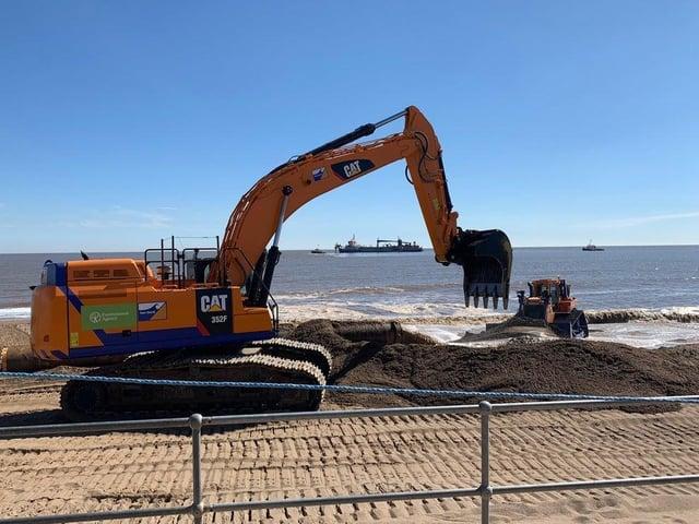 Beach replenishment work has begun along the Lincolnshire coast.