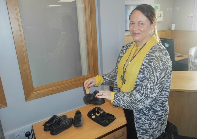 Karen Elliott, William Alvey School's Office Manager and Shoe Shop Swap Organiser! EMN-210326-173352001