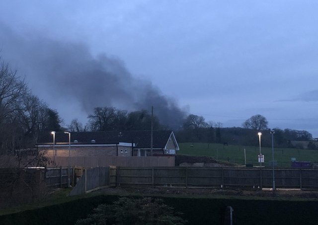 Black smoke rising from the Ancaster karting centre on Saturday night, taken at about 6.30pm by Joanna Livsey. EMN-210329-092432001