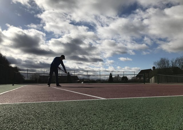 Tealby Tennis courts were swept ready for play today