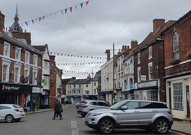 Bunting has been put up in the Cornmarket, in preparation for the 'cafe culture' launch next month.