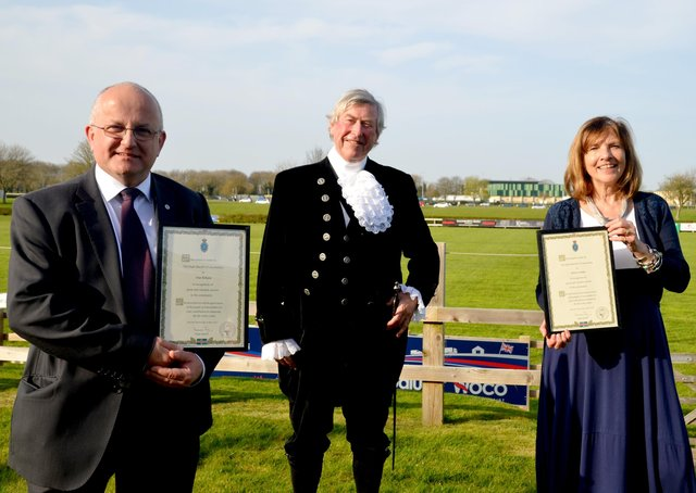 The Rev Canon Alan Robson, left, and Alison Twiddy have received awards from Lincolnshire's High Sheriff
