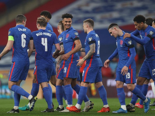England celebrate against San Marino. Photo: Getty Images