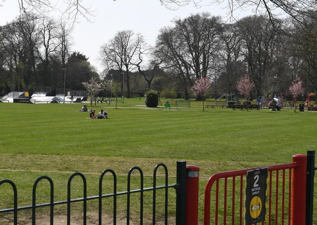 Just a few groups spread out on Sleaford's Boston Road Recreation Ground. EMN-210331-171215001