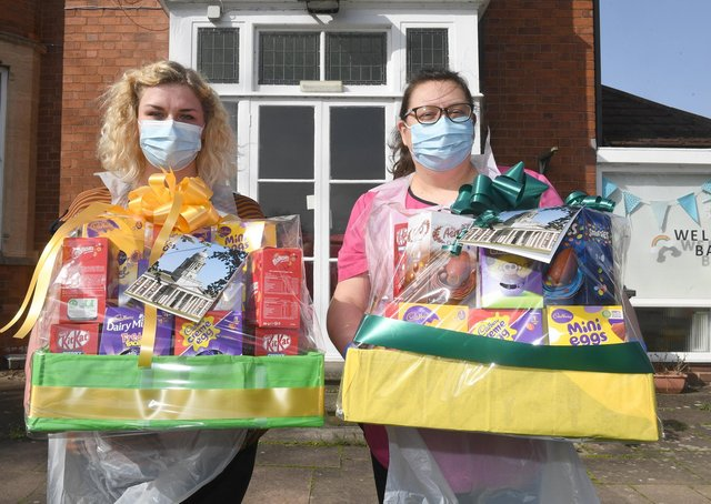 RAF Cranwell donate two Easter Egg hampers to Ashdene Care Home. L-R Laura Cook - deputy manager, Jilly Hunt - manager. EMN-210331-171154001