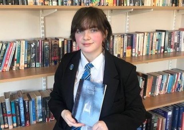 Louth Academy student Abbie Bryson (14) has written and published her first novel 'The Wings That Follow,' which is available now on Amazon. EMN-210104-103813001