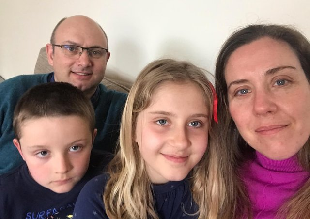 Josephine Russell, nine, of Sleaford, with brother Alexander, six, and parents Andy and Eugenia. EMN-210204-152727001