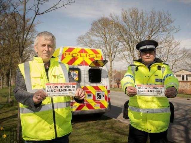 ohn Siddle from the Lincolnshire Road Safety Partnership and PCSO Dave Bunker with their bumper stickers for the new campaign they want drivers to get behind.