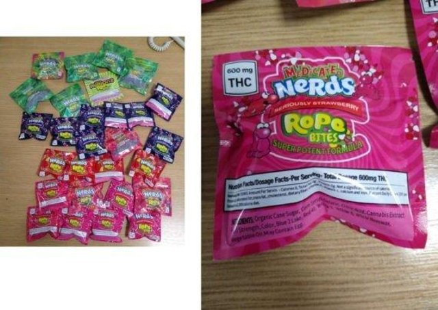 The 'drug sweets' found by officers. Now they are warning school staff to be on alert. EMN-210204-095114001