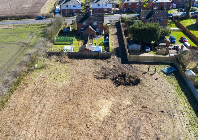 The site at Potterhanworth where new Passivhaus council homes are to be built. EMN-210604-113520001