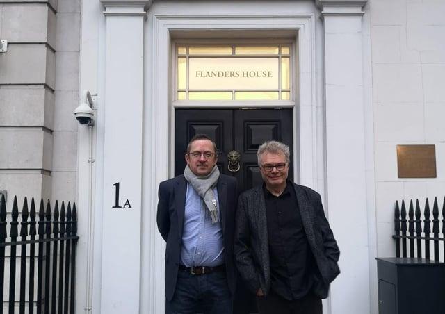Magna Vitae Director of Partnerships, James Brindle (left), with SO Festival artistic director Jens Frimann outside Flanders House, London.
